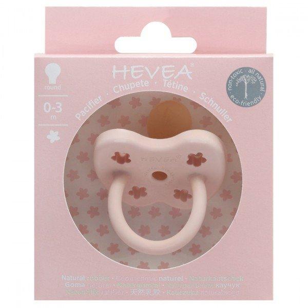 HEVEA Beruhigungssauger aus Naturkautschuk 0 - 3 Mon. Powder pink, Blümchen ,rund
