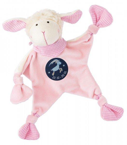 Sigikid Schmusetuch Schaf in rosa mit Sternzeichen STEINBOCK