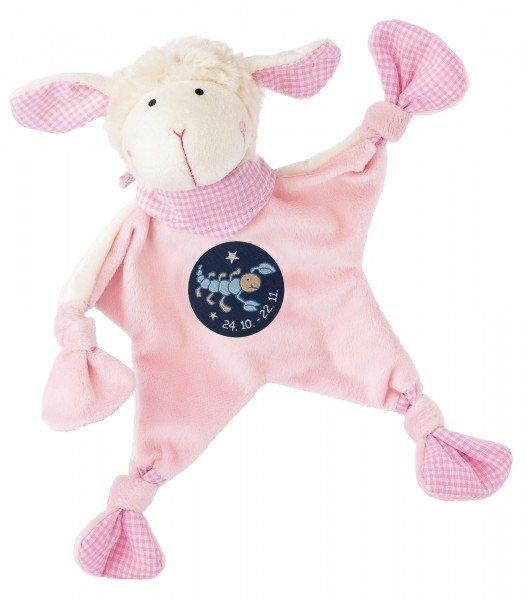 Sigikid Schmusetuch Schaf in rosa mit Sternzeichen SKORPION