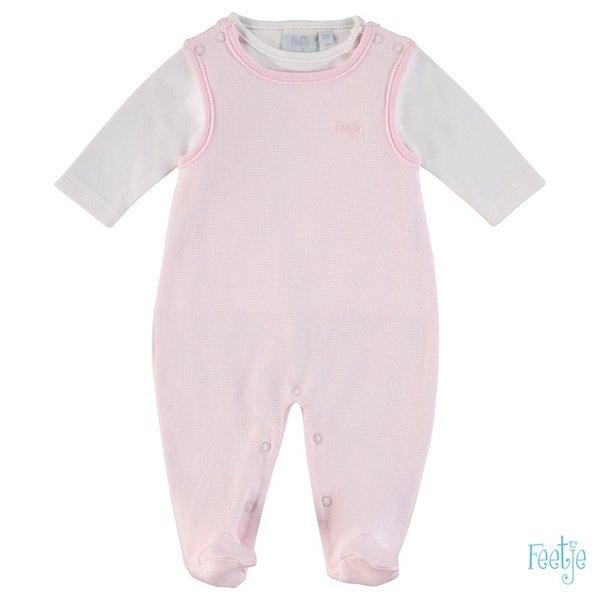 Feetje Strampler, 2tlg. rosa geringelt, Gr. 44 bis Gr. 62