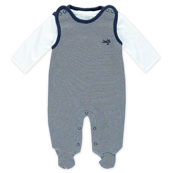 Feetje Baby Strampler, 2tlg. Ringel marine, Gr. 44 bis Gr. 68