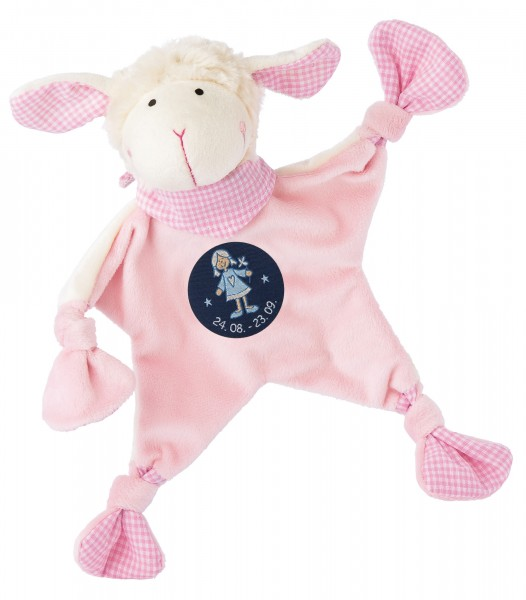 Sigikid Schmusetuch Schaf in rosa mit Sternzeichen JUNGFRAU