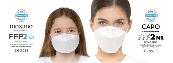 MAXIMO FFP2 Masken für Kinder & Erwachsene 2er Pack