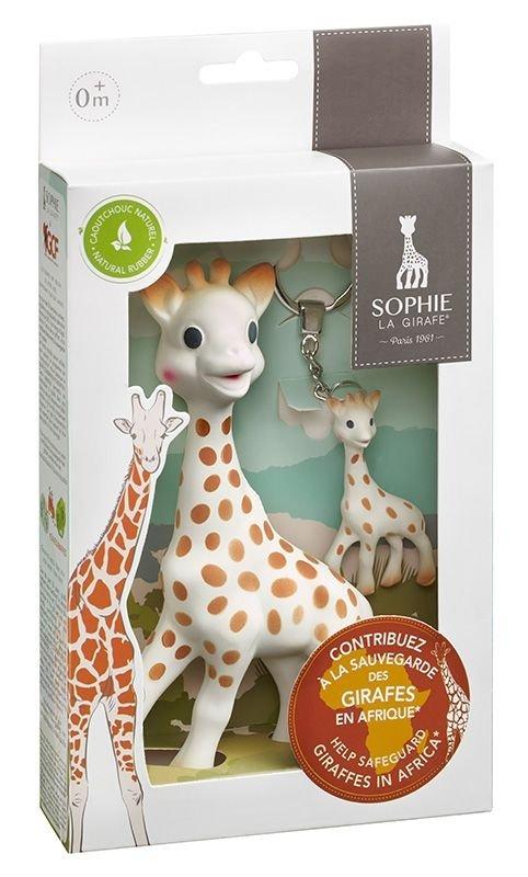 SOPHIE LA GIRAFE Sonderedition mit Schlüsselanhänger, schützt die Giraffen