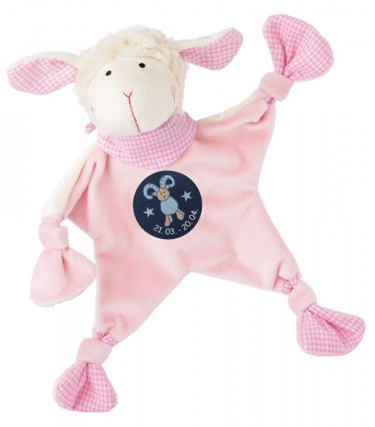 Sigikid Schmusetuch Schaf in rosa mit Sternzeichen WIDDER