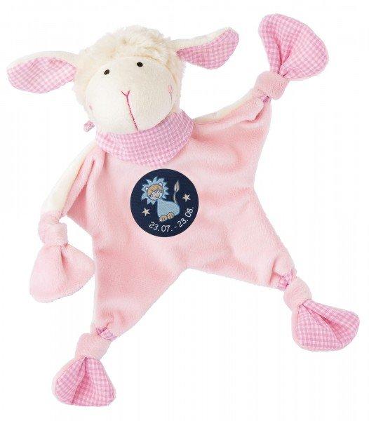 Sigikid Schmusetuch Schaf in rosa mit Sternzeichen ZWILLINGE