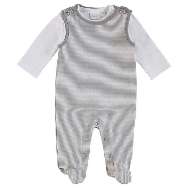 Feetje Baby Strampler, 2tlg. Ringel grau, Gr. 50 bis Gr. 68