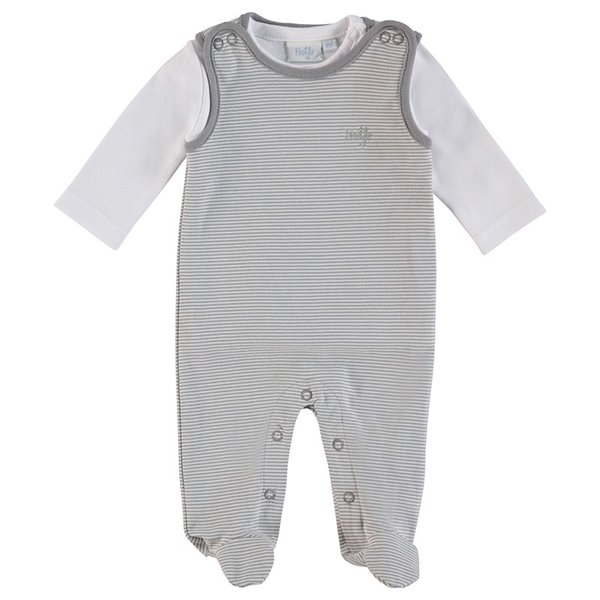 Feetje Baby Strampler, 2tlg. Ringel grau, Gr. 44 bis Gr. 68