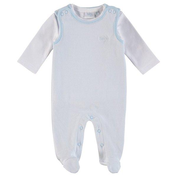 Feetje Baby Strampler, 2tlg. Ringel hellblau, Gr.44 bis Gr. 68